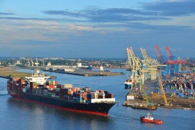 Nálepka Hamburger Hafen, Containerschiff, Container, Schlepper, Vorhafen, Labe, Hamburg