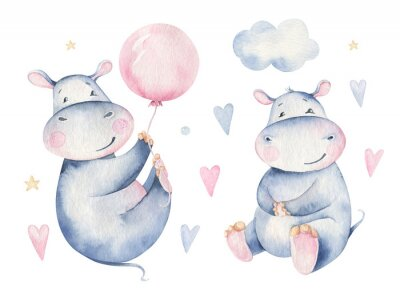 Nálepka Hand drawn cute isolated tropical summer watercolor hippo animals. hippopotamus baby and mother cartoon animal illustrations, jungle tree, brazil trendy design. Aloha collection.