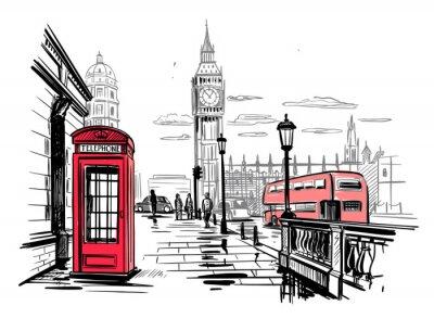 Nálepka hand drawn landscape of London city