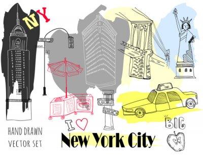 Nálepka Hand drawn New York elements. Colored graphic vector set