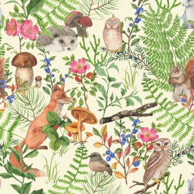 Nálepka Hand drawn seamless pattern with watercolor forest animals and plants. Pattern for kids wallpaper, wood inhabitants, cute animals
