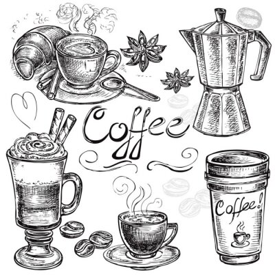 Nálepka hand drawn set coffee collection