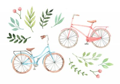 Nálepka Hand drawn watercolor illustration - Romantic bike with floral elements. City bicycle. Amsterdam. Perfect for invitations, greeting cards, posters, prints