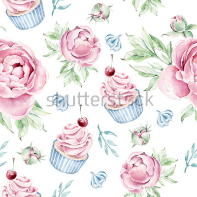 Nálepka Hand drawn watercolor pattern with cupcake and floral elements.Romantic concept.