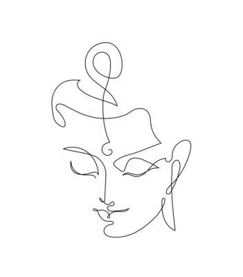 Nálepka Head Smiling Buddha. Linart drawings.
