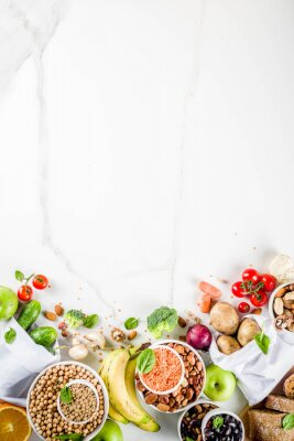 Nálepka Healthy food. Selection of good carbohydrate sources, high fiber rich food. Low glycemic index diet. Fresh vegetables, fruits, cereals, legumes, nuts, greens.  copy space