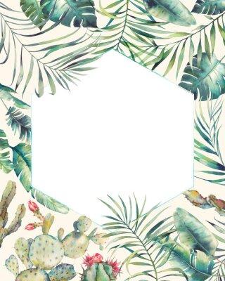 Nálepka Hexagon tropické rostliny rám. Ručně kreslená letní karta s kaktusem, exotické větve, banánové listy, palma. Šablona pozdravu nebo loga.