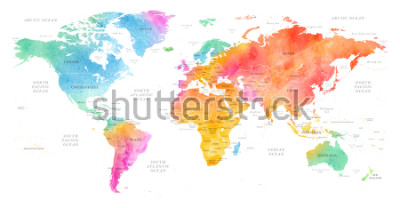 Nálepka High detailed Multicolor Watercolor World Map Illustration with borders, oceans and countries on white Background, Side View.