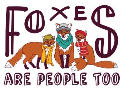 Nálepka Hipster fox zábava znamení plakát zvíře karty.