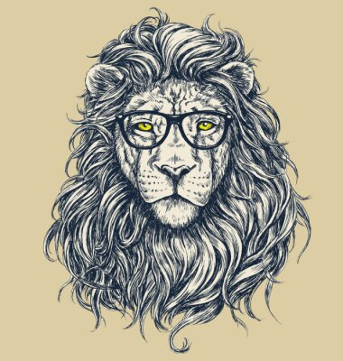 Nálepka Hipster lion vector illustration. Glasses separated.