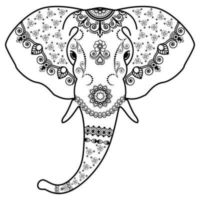 Nálepka Hlava černá a bílá slona v Mehndi Indian style.Vector ilustrace na bílém pozadí