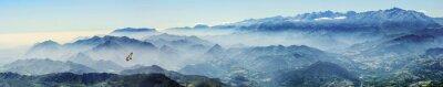 Nálepka Hochgebirge mit Gänsegeier im Nebel (Picos de Europa, Asturien, Španělsko)