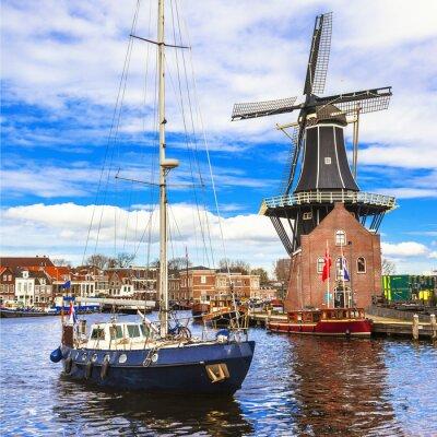 Nálepka Holland, Haarlem' canals. windmill and sail boat