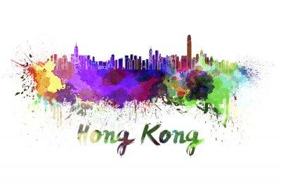 Nálepka Hong Kong panorama v akvarelu
