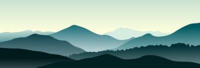 Nálepka Horská krajina v letní ráno. Horizontální vektorové ilustrace.