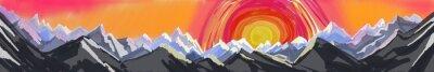 Nálepka horská východu nebo západu slunce, digitální abstraktní umění obraz drsné pohoří s velkým barevným západ slunce nebo stoupá, záhlaví nebo zápatí webové stránky