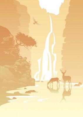 Nálepka horské krajiny s vodopádem