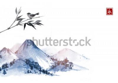 Nálepka Hory a ptáček na větvi bambusu. Hieroglyf - věčnost. Tradiční orientální inkoustová malba sumi-e, u-sin, go-hua.