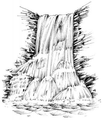 Nálepka Hory vodopád grafickou ilustraci