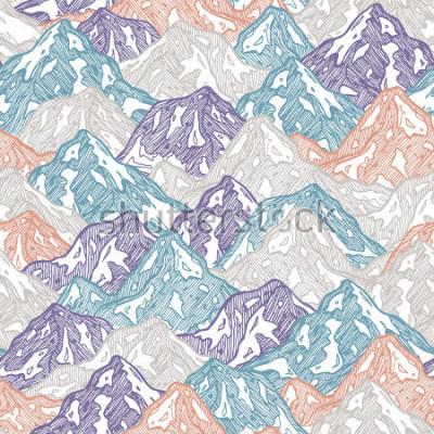 Nálepka Hory vyhovové vzor. Zábavné hory ilustrace dítě. Vektorové ilustrace