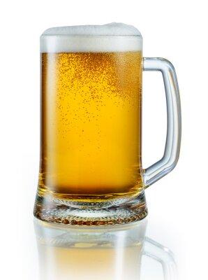Nálepka Hrnek světlé pivo izolovaných na bílém pozadí. S ořezovou pa