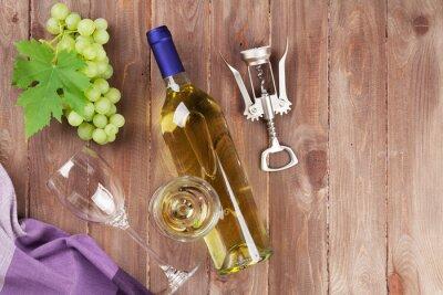 Nálepka Hrozen, bílého vína a vývrtka