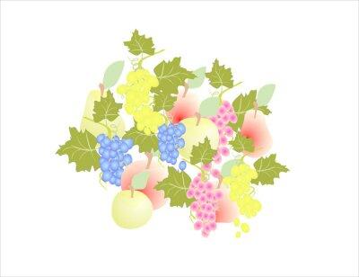 Nálepka hroznové víno hruška jablko - ovoce podzim,