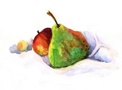 Nálepka hruška a jablko, akvarel