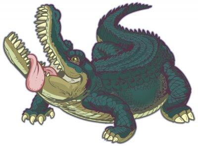 Nálepka Hungry Cartoon Alligator s vyplazeným jazykem