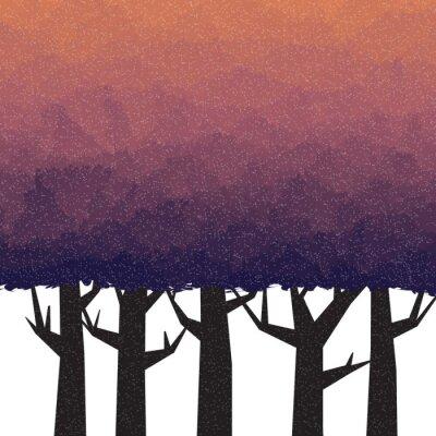 Nálepka Hustý les v době soumraku