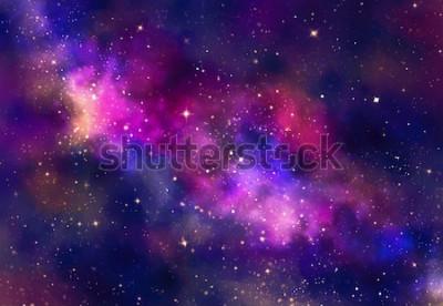 Nálepka Hvězdné pole v galaxii prostoru s mlhovinou, abstraktní akvarel digitální umění malba pro textury pozadí
