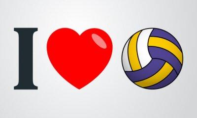 Nálepka Icono Plano Miluju voleibol barvu en fondo degradado
