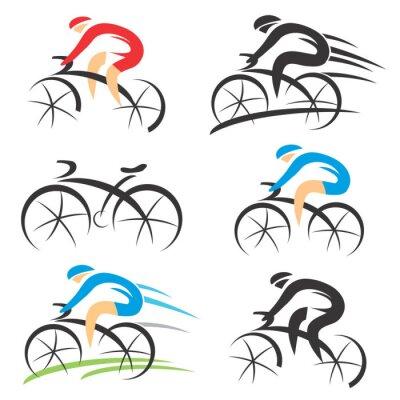 Nálepka Icons with stylized cyclist