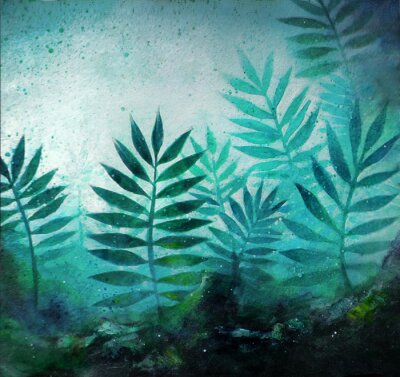 Nálepka Illustration of a tropical forest landscape with plants in acrylic painting