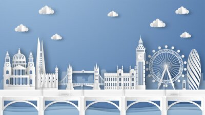 Nálepka Illustration of city scene with famous architectures in London, England. Elements of London city, England. London city scene of England. paper cut and craft style. vector, illustration.