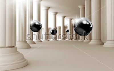 Nálepka Ilustrace 3D černé koule vzor na dekorativní pozadí 3D tapety. Grafické moderní umění