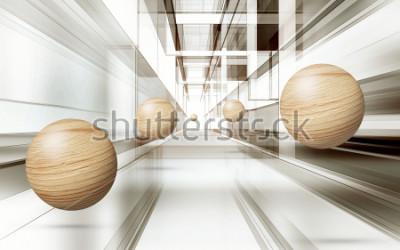 Nálepka Ilustrace 3d hnědá koule vzor na dekorativní pozadí 3D tapety. Grafické moderní umění
