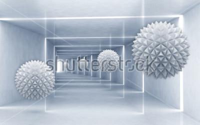 Nálepka Ilustrace 3D krystal crystal míč na dekorativní stříbrném pozadí 3D tapety. Grafické moderní umění