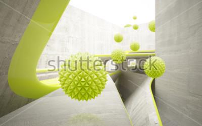 Nálepka Ilustrace 3d zelený krystal ball míč na dekorativní pozadí 3D tapety. Grafické moderní umění