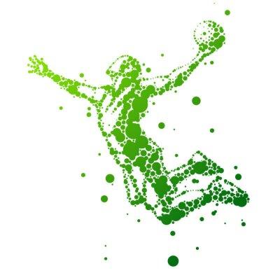 Nálepka ilustrace abstraktní basketbalista v skoku