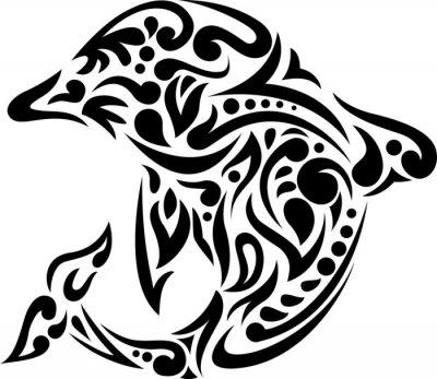 Nálepka ilustrace delfín tetování
