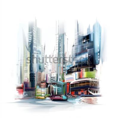 Nálepka Ilustrace Evropské město ulice