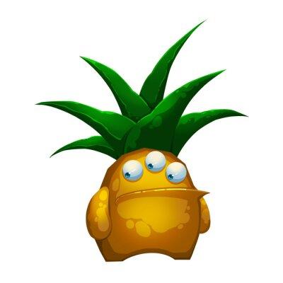 Nálepka Ilustrace: Fantastic Forest ananas Společnost Monster izolovaných na bílém pozadí. Realistické Fantastic kreslený styl Character / netvor / Creature design.