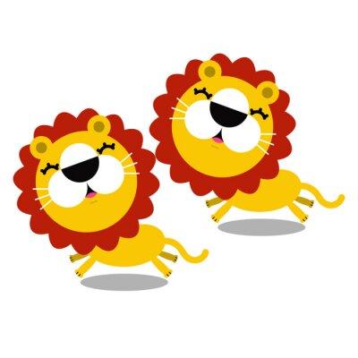 Nálepka ilustrace kreslené roztomilé lvů