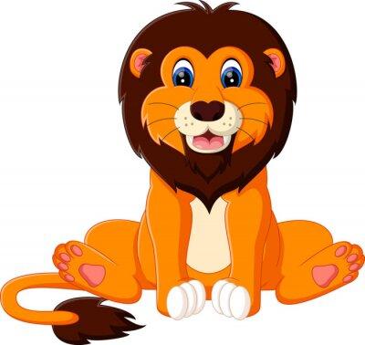 Nálepka ilustrace roztomilé dítě lev karikatura