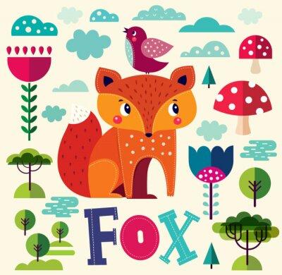 Nálepka Ilustrace s liškou a dalších prvků