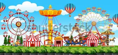 Nálepka Ilustrace scéna zábavního parku