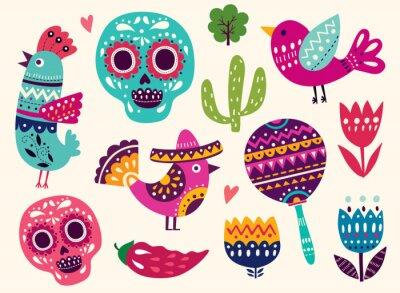 Nálepka Ilustrace se symboly Mexika