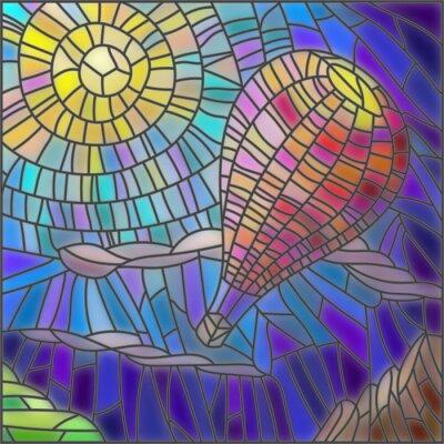 Nálepka Ilustrace v barevné sklo ve stylu horkovzdušném balónu na pozadí oblohy a slunce