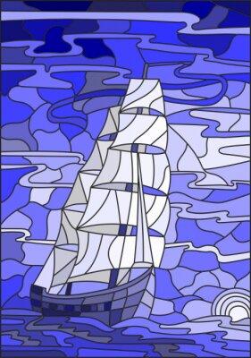 Nálepka Ilustrace v vitráže stylu s plachetnice proti obloze, moře a zapadajícím sun.Blue verze